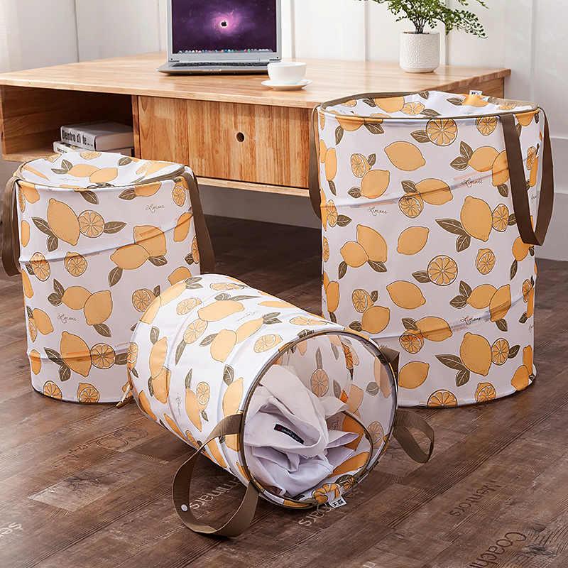 Cesta de Roupa suja Cesto de roupa suja Oxford Limão Impresso para Brinquedos 2018 Nova Folding Armazenagem & Organização Armazenamento Cesto De Roupa Suja