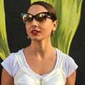 Змеиная кожа Cat Eye Bold Винтаж Мода Ретро Женщины Градиент Линзы СОЛНЦЕЗАЩИТНЫЕ ОЧКИ Ацетат Кадров 97094 Óculos De Sol Европейский Стиль