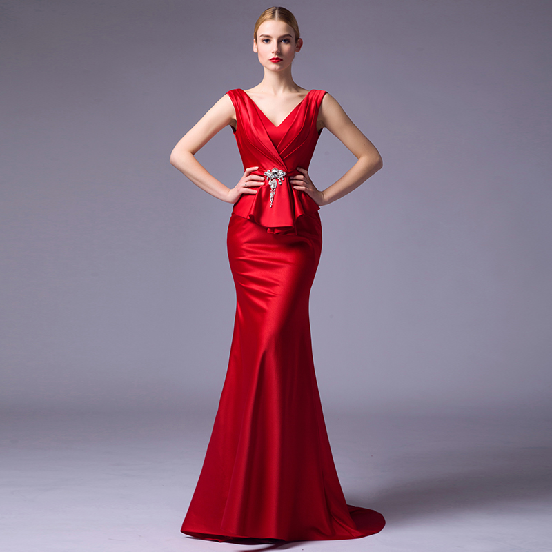 Suosikki New Arrival 2016 Seductive Red Mermaid Evening Dress Long fishtail  Formal Gowns Lace Up robe de soiree-in Evening Dresses from Weddings    Events on ... fdf79f8d4da1