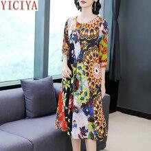 YICIYA Silk dress high quality plus size for big women summer elegant vintage midi robe dresses print floral 2019 clothing