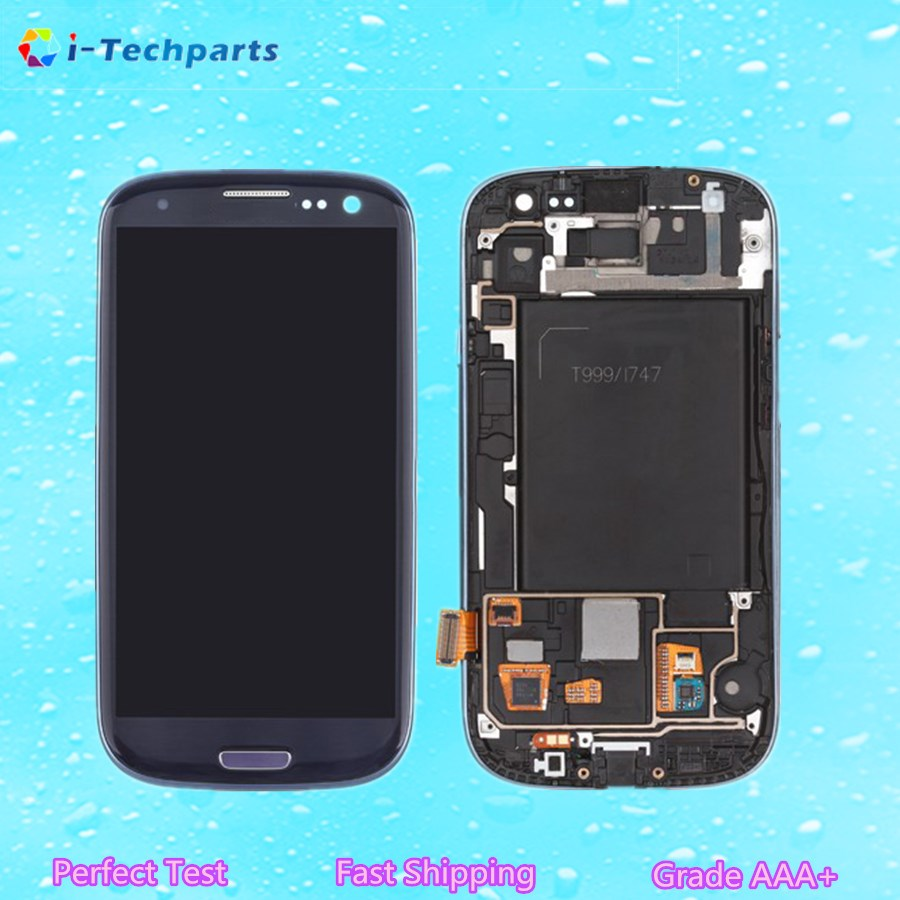 5 PCS Original For Samsung Galaxy S3 LCD Display and Touch Digitizer Screen Assembly Replacement with Frane and Logo,Blue White