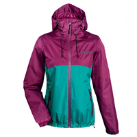 womens thin coats spring summer polyester waterproof workout jackets hooded purple green patchwork professional wind breaker