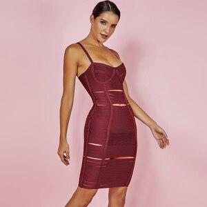 Image 5 - 사슴 레이디 여름 붕대 드레스 2019 새로운 도착 화이트 섹시 할로우 Vestidos 붕대 Bodycon 드레스 미니 드레스 클럽 파티 HL