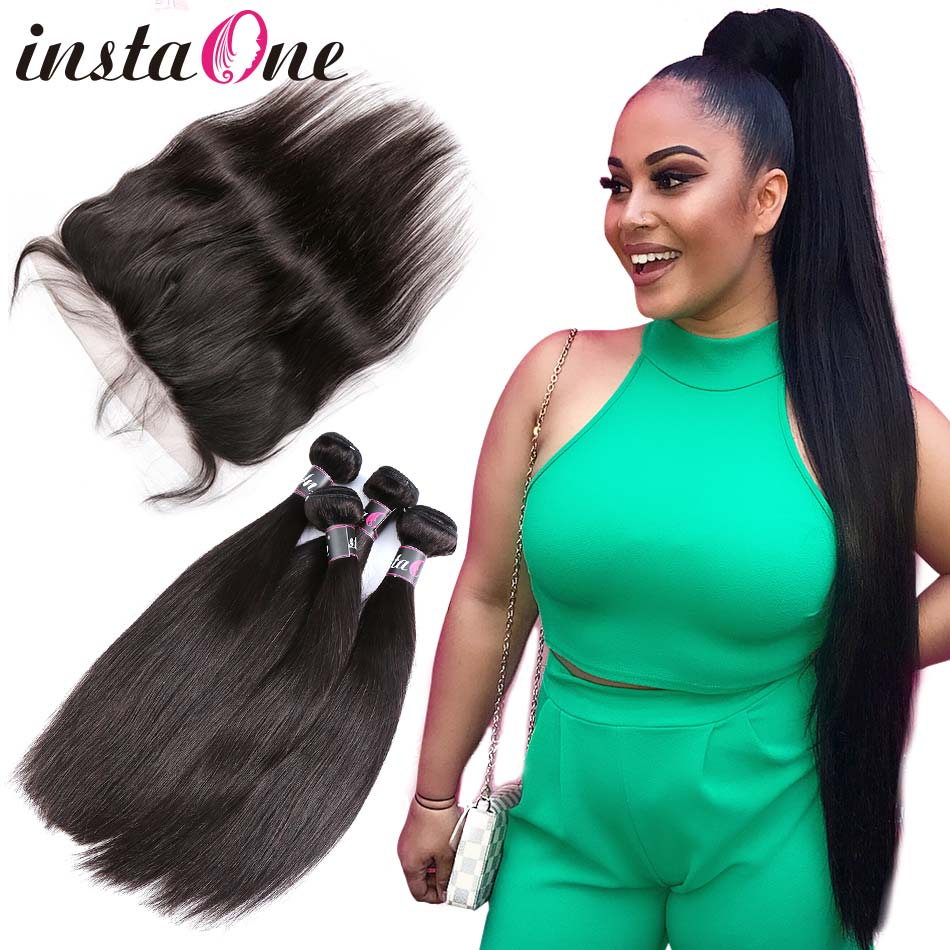 36 38 40 Inch Brazilian Hair Weave Bundles With Lace Frontal Closure Raw Virgin Natural Straight