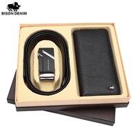 BISON DENIM Box Gift Set For Men Genuine Leather Wallet And Genuine Leather Belt Male Christmas
