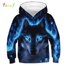3D Drucken Wolf Mädchen Jungen Hoodies Mantel Teens Herbst Oberbekleidung Kinder Kleidung 8 10 12 Jahre Mit Kapuze Sweatshirt Langarm pullover