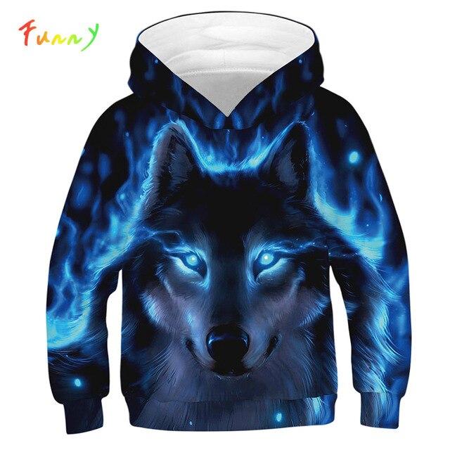 3D Print Wolf Meisjes Jongens Truien Jas Tieners Herfst Bovenkleding Kids Kleding 8 10 12 Jaar Hooded Sweatshirt Lange Mouw truien