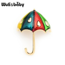 Wuli&baby Raindrop Multi-color Umbrella Enamel Brooches For Women And Men Girlss Bag Accessories Gifts