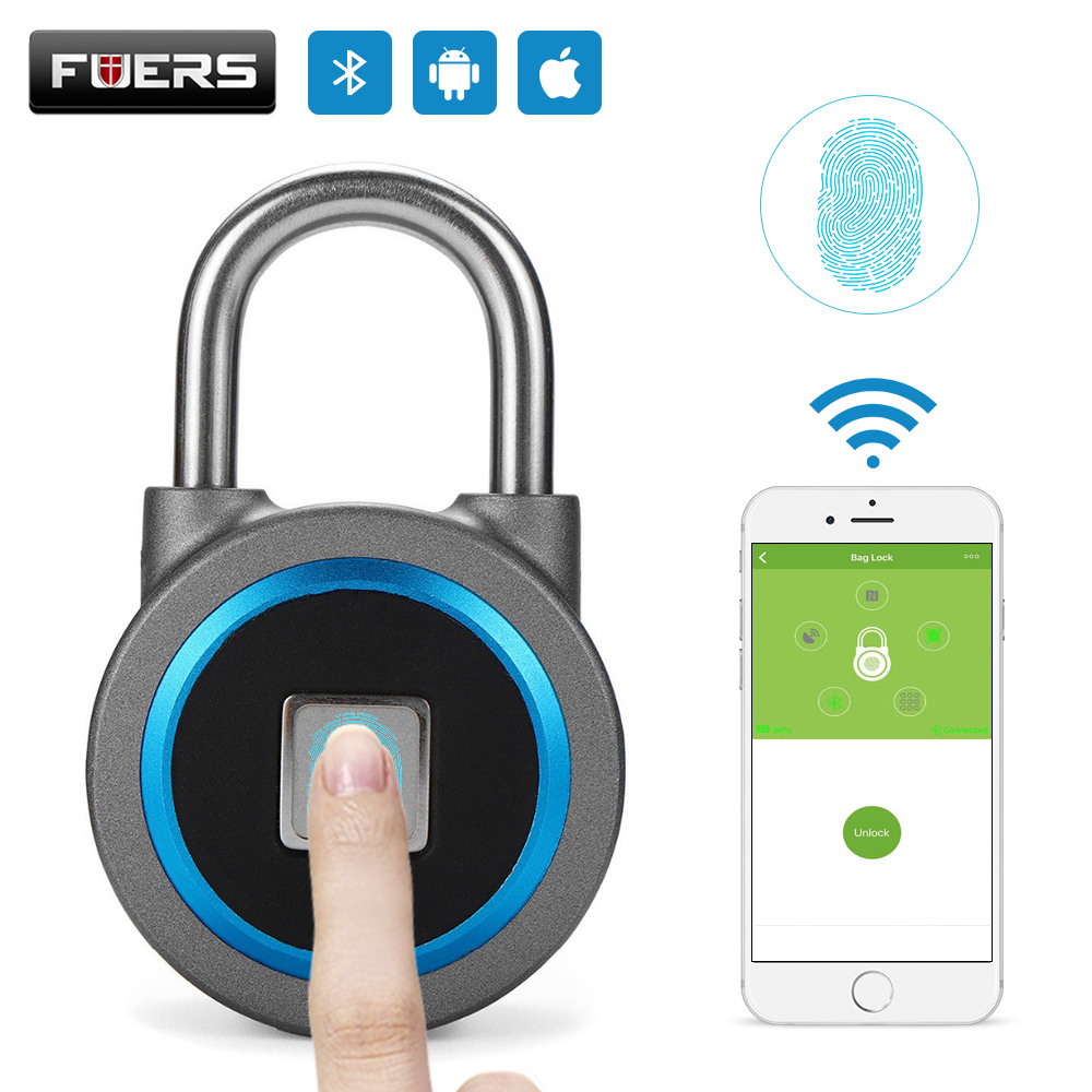 Fingerprint Smart Keyless USB Rechargeable Padlock Waterproof APP Button Password Anti-Theft Luggage Door Lock for Android IOS