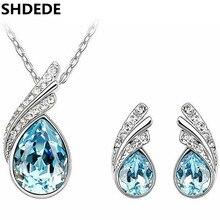 547932cd611df SHDEDE Cristal de Swarovski Conjuntos de Jóias de Moda Colar Brincos  Conjuntos Mulheres Acessórios Gota de Água Do Parafuso Pris.