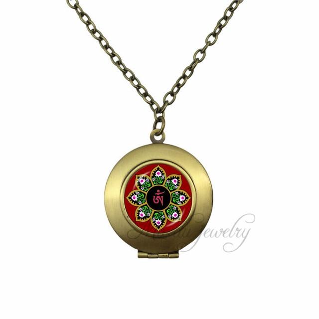 b7c358d8956a Yoga Choker Necklace India Lotus Om Symbol Buddhism Zen Meditation Mandala  Locket Pendant Glass Dome Necklaces Jewelry