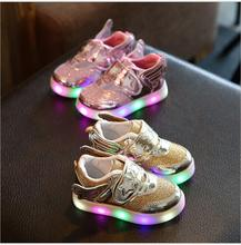 2017 new children's shoes baby toddler shoes boys and girls sports shoes LED lights flashing fashion casual shoes size 21-25