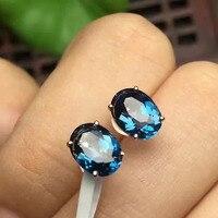 925 silver sterling natural London Blue topaz earrings water drop fine Jewelry 2019 new wholesale