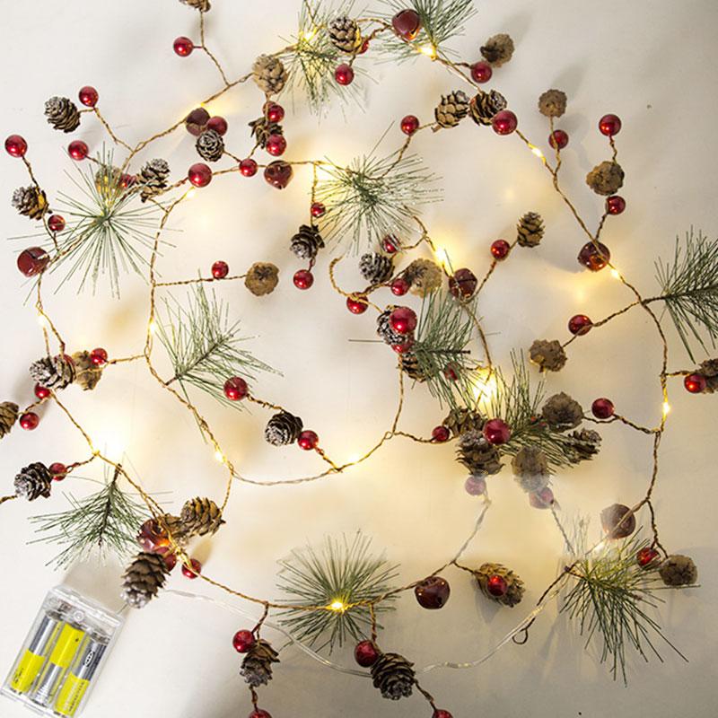 2 m 20LED Fil De Cuivre Lumières De Noël Intérieur Guirlande AA Batterie Alimenté De Noël Rouge Fruits Pomme De Pin Fée Lumière Chaîne de Cèdre lumière