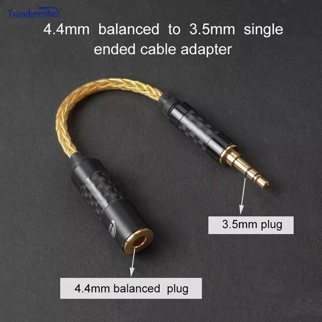 고품질 헤드폰 전송 와이어 6 코어 이어폰 어댑터 4.4mm 여성 3.5mm 남성 소니 dmpz1 zx300a A 35 pha2a 아이폰에 대 한