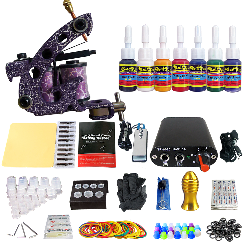 Tattoo New Beginner 1 Pro Machine Gun Tattoo Kit Power Supply Needle Grips tip 7 color ink set TK105-78 new tattoo machines gun equipment power supply 20 color ink cup tattoo set brand new