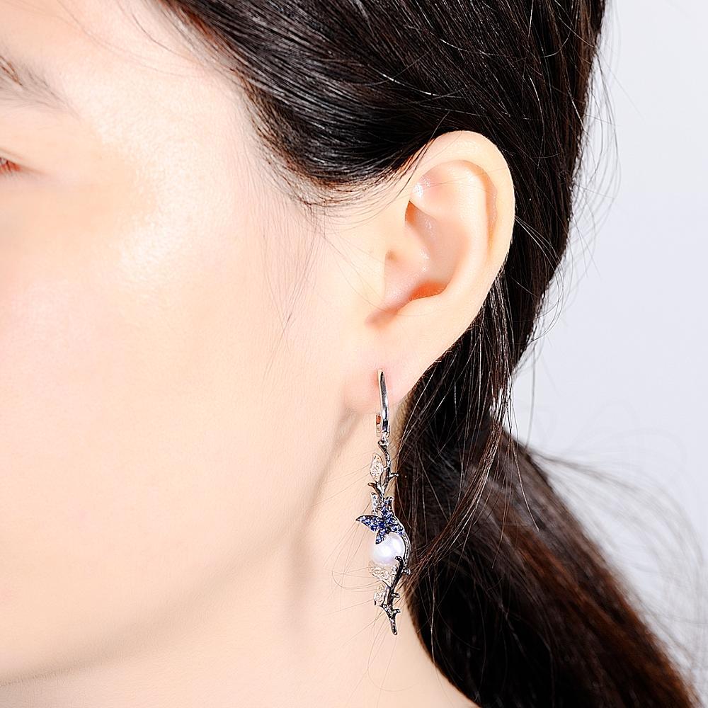 SANTUZZA conjunto de joyas para mujeres de la leyenda del mar de agua dulce blanco perla pendientes de anillo de Plata de Ley 925 Chic conjunto de joyas - 6