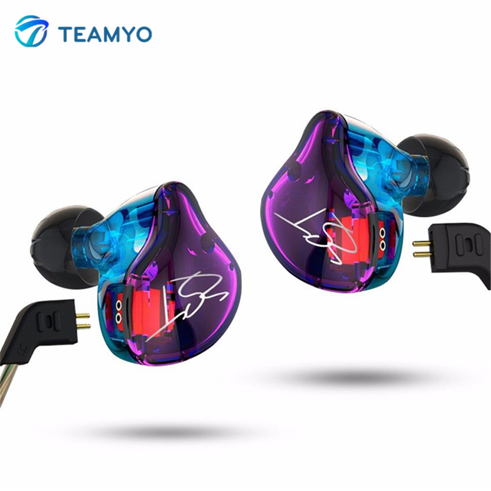 Teamyo ZST Balanced Armature With Dynamic In-ear Earphone Bass HIFI BA Driver Noise Cancelling Headset With Mic Earplug Earbud sokotoo men s slim patch pocket denim bib overalls casual suspenders jumpsuits jeans
