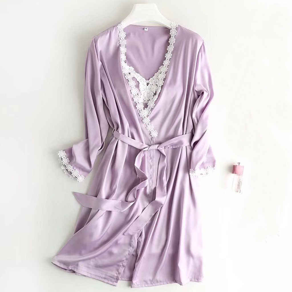 979192f5c ... Women Sexy Lingerie satin bridesmaid robes Nightwear Underwear bath  robe bride kimono Sleepwear Silk Lace peignoir ...
