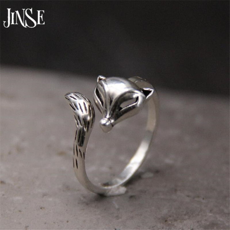 JINSE 925 Sterling Silver Fox Ring Vintage S925 Thai Silver Animal Shape Rings for Women Jewelry 14mm