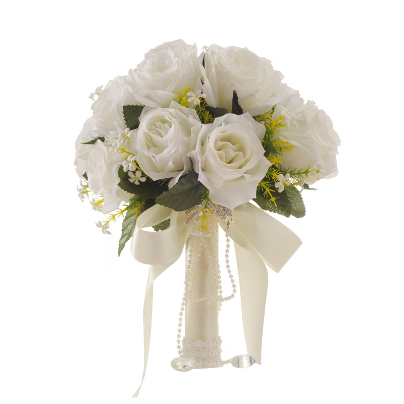 Купить с кэшбэком Artificial White Flower Bouquet Wedding Bouquet de mariage Handmade Leaves Pearl Flowers Bridesmaid Wedding Bouquets