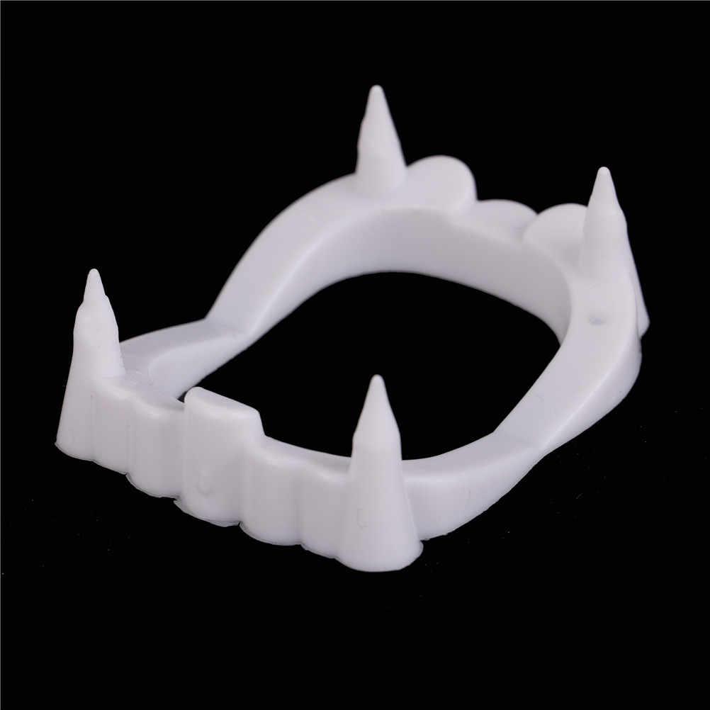 1pc Luminous wampir fałszywe zęby Dracula zęby halloweenowy potwór wilkołak Zombie kły Halloween Masquerade przebranie na karnawał Prop