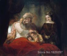 Animal paintings Rembrandt van Rijn's reproduction Jacob Blessing the Sons of Joseph hand painted High quality