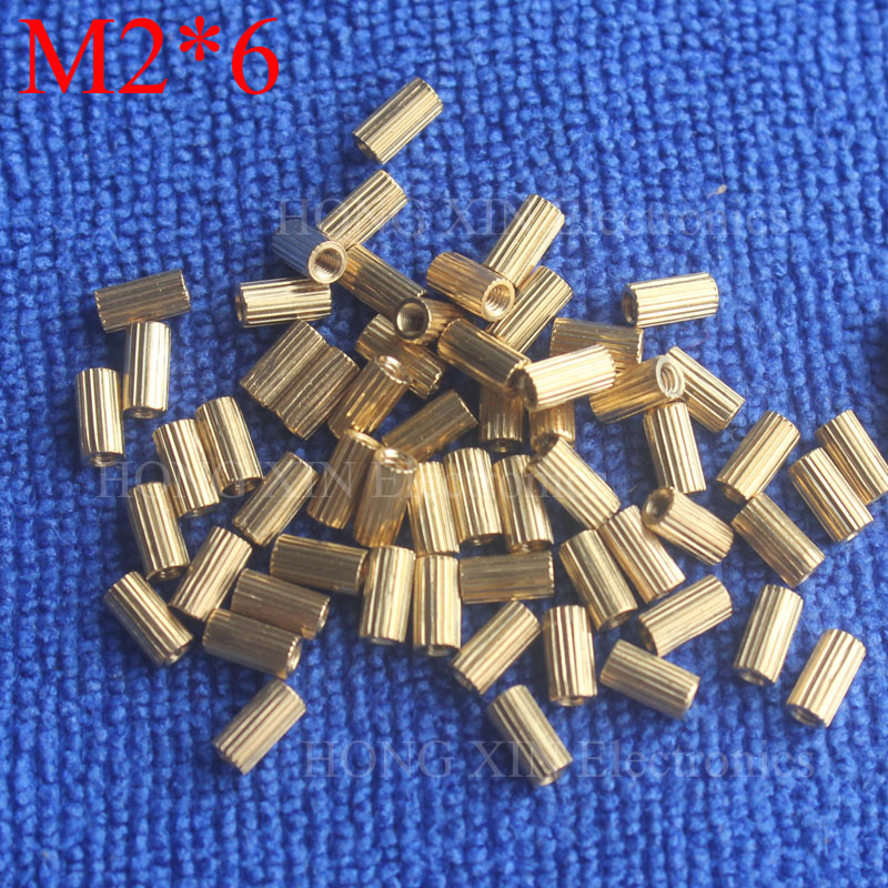 M2 6 1Pcs Brass Spacer Standoff 6mm Female To Female Standoffs column cylindrical High Quality 1 piece sale in Screws from Home Improvement