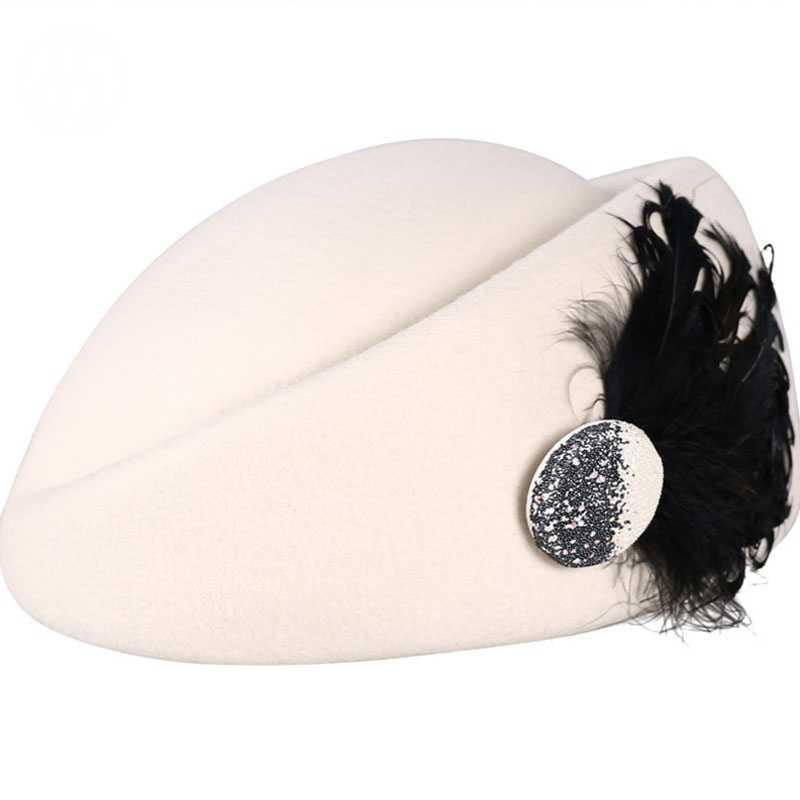 Британский женский берет шерстяной головной убор черные белые зимние войлочные теплые шапки французский художник перо береты Femme шляпка стюардессы Fedoras