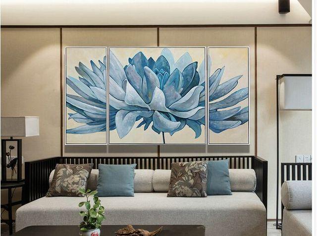 Slaapkamer Blauw Verven : Handgemaakte canvas olieverf blauw bloemen foto verven voor