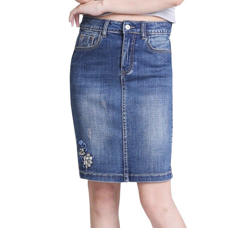 Jupe en Denim pour femmes 2017 Style de broderie coréenne jupe en Denim Stretch taille moyenne jupe en Jeans