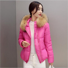 Korea 2017 Winter New Fashion Women Thick Warm Big yards Down Jacket Elegant Pure color Hooded Fur collar Short Women Coat G0339