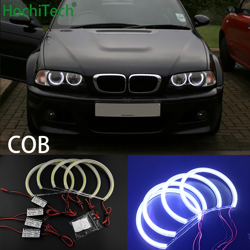 HochiTech for BMW 98-03 pre-facelift E46 coupe cabrio with PROJECTORS car styling White LED COB Angel Eye Halo Light Error Free bmw 645 ci cabrio convertible 1 24
