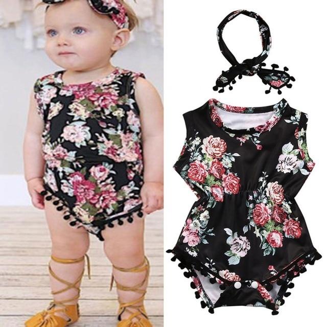 40a59432d97a 2Pcs Set Summer Toddler Baby Girls Sleeveless flamingo Tassel Romper+  Heanband 2Pcs Jumpsuit Outfits Sunsuit Clothing AGC0938