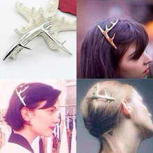 Vintage Hair Jewelry Gold and Silver Color Matte Women Anlters Hairpins Party Xmas Deer  Hair Accessories Summer Bridal Combs