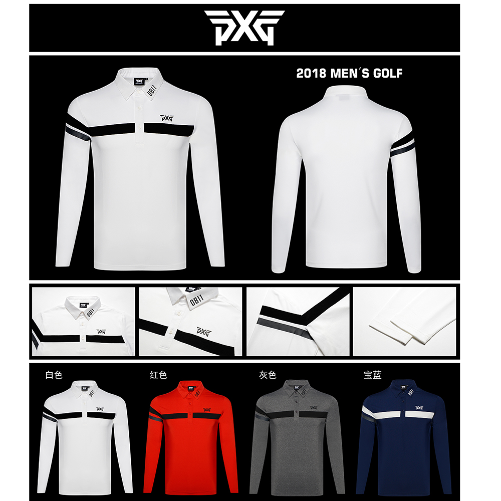 Golf T-shirt PXG Men's Summer Sportswear long sleeve Golf T-shirt S-XXL to choose voile panel stripe long sleeve t shirt
