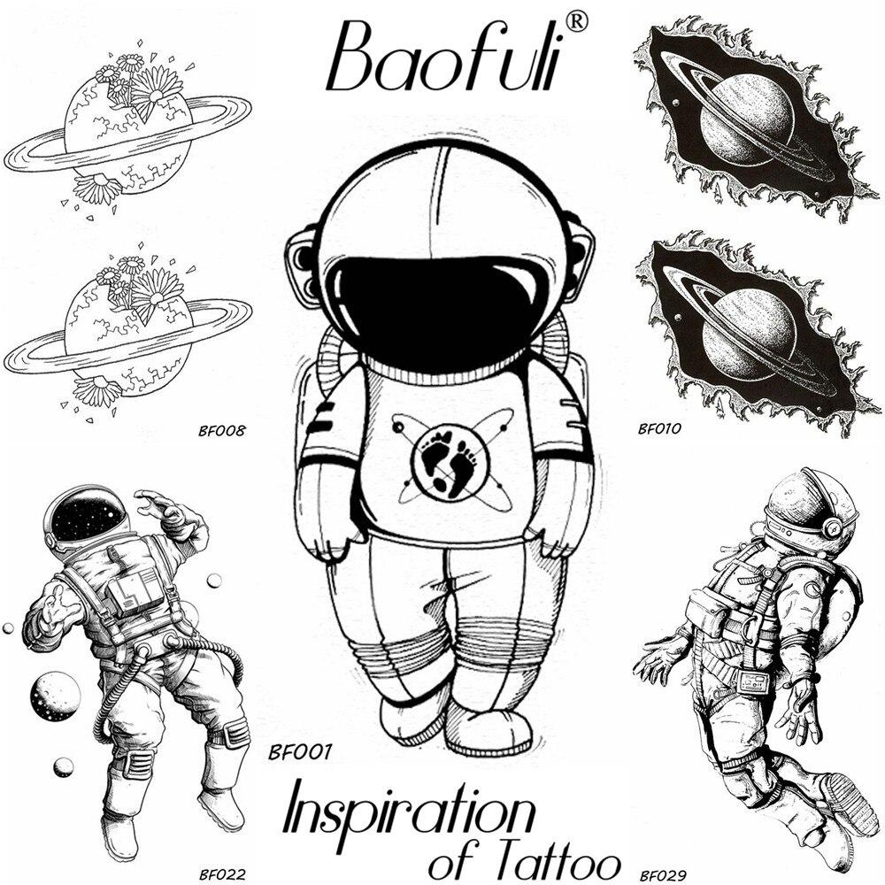BAOFULI Men Black Waterproof Temporary Tattoo Astronaut Children Universe Series Fake Arm Tatoos Body Art Cartoon Tattoo Sticker