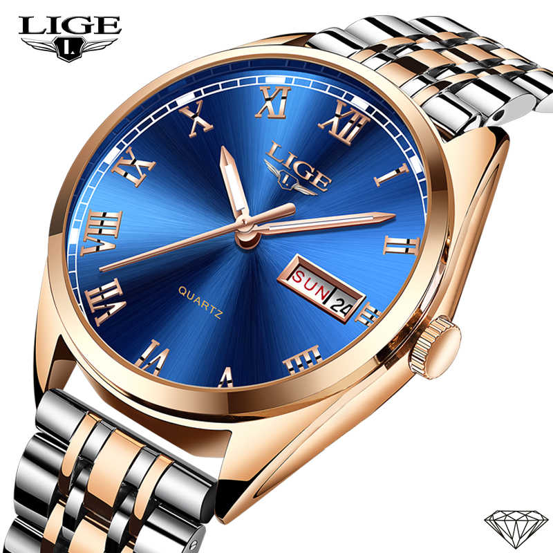 New LIGE Women Dress Watches Luxury Brand Ladies Quartz Watch Stainless Steel Band Casual Bracelet Wristwatch Reloj Mujer+Box