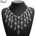 Moda magnífico collar de moda esqueleto cráneo cruz de cristal de la joyería declaración departamento mujeres choker collares colgantes
