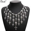 Trendy Gorgeous Fashion Necklace Skeleton skull Cross Jewelry crystal Department Statement Women Choker Necklaces Pendants