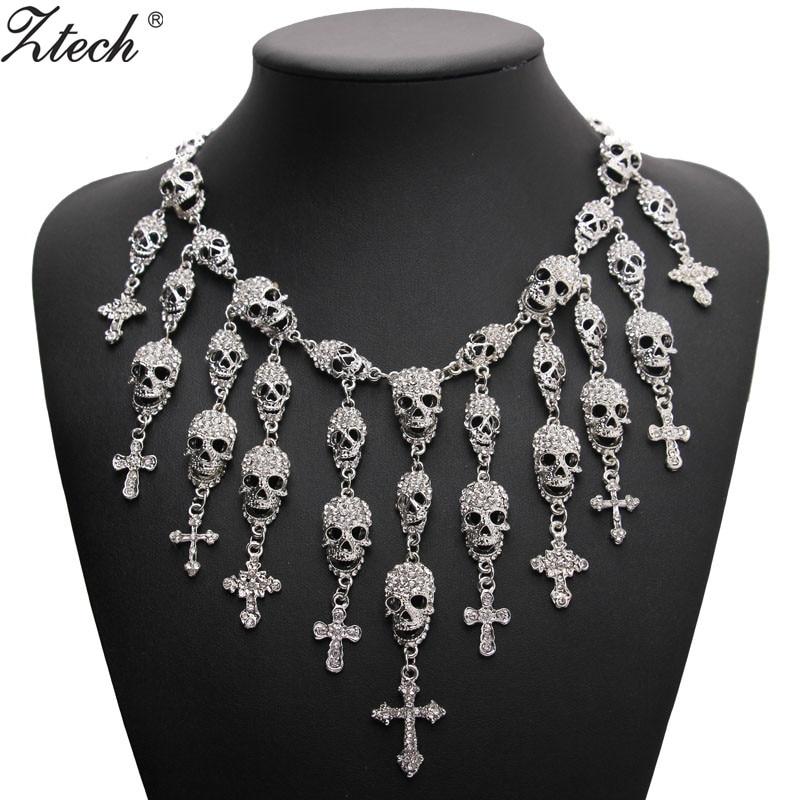 Ztech Trendy Gorgeous Mote Halskjede Skeleton Hodeskalle Kors Smykker Crystal Department Statement Women Choker Halskjede Pendants