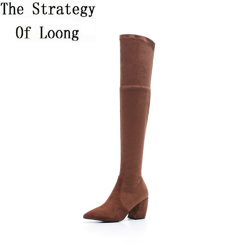 Women Pointed Toe Vintage Nubuck Leather Spring Autumn Long Boots Lady Genuine Leather Winter Over The Knee High Heels Boots 185 high quality women shoes fashion pointed toe nubuck leather boots over the knee slip on high thin heels long boots for women