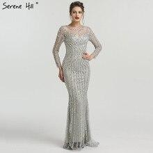Gris de manga larga brillante vestidos de noche Sexy sirena diamante cordón  vestido de noche 2019 foto Real LA6591 784db2f978a5