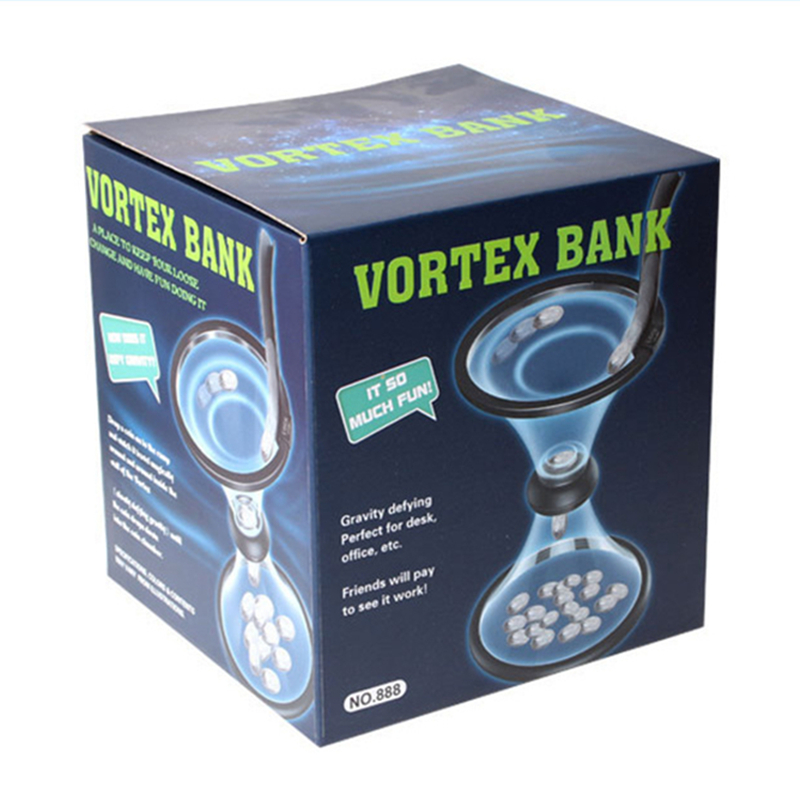 Transparent Gravity Rotating Cyclone Piggy Bank Vortex Funnel Rotating Coin Piggy Bucket