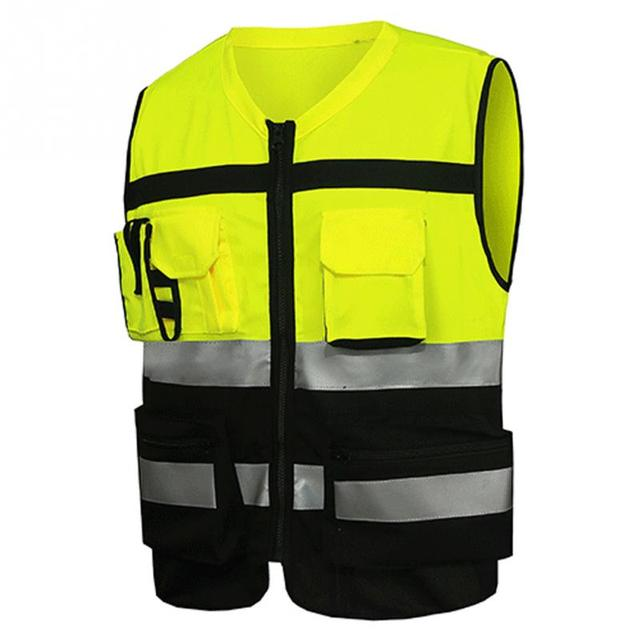 Professional Security Reflective Vest Pockets Design Reflective Vest High Visibility Safety Straps Outdoor Cycling Zip 2