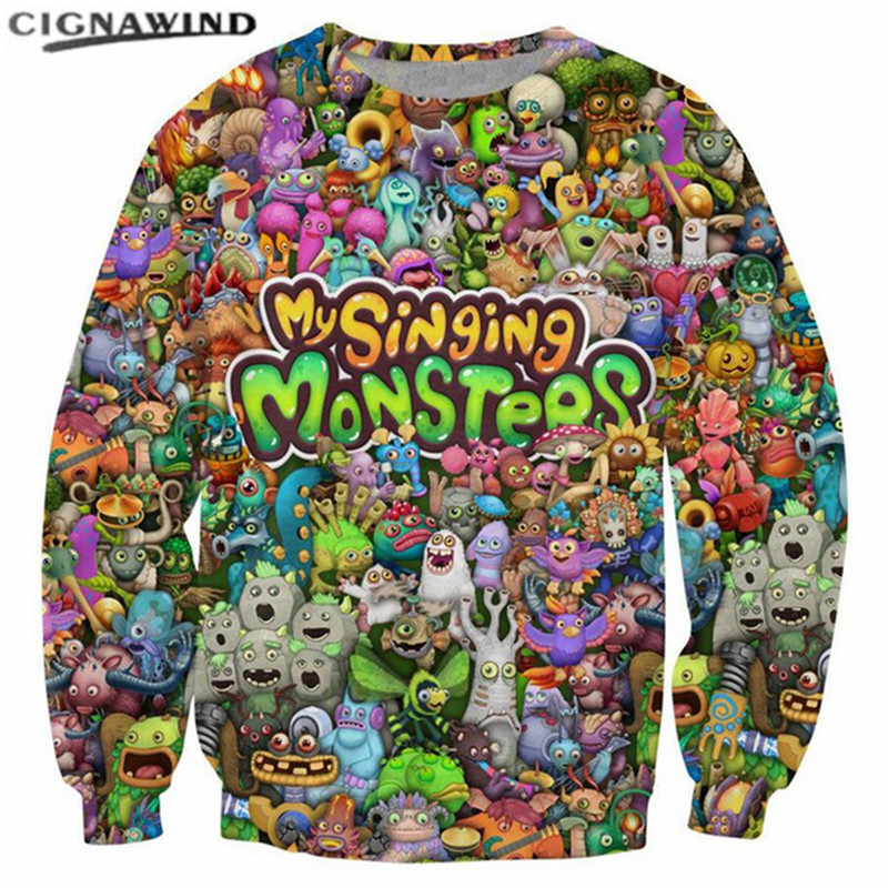 11ed5402c48b New fashion My Singing Monsters Character Collage 3D Printed sweatshirts  funny cartoon Hoodies hip hop men