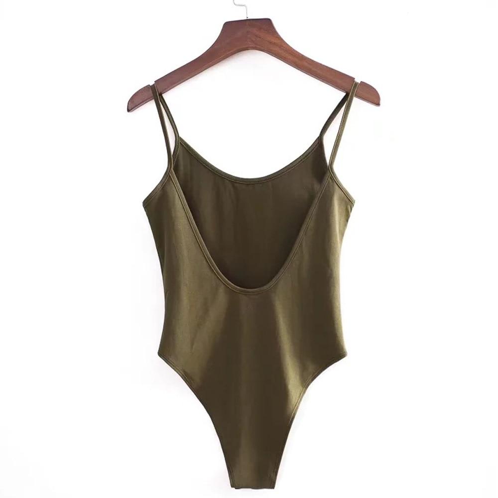 Txjrh Sexy Backless Fit Romper Body Siamese Bodysuit Slim Spaghetti Strap Skinny Tight Fashion Undershirt Playsuits 5 Colors by Txjrh