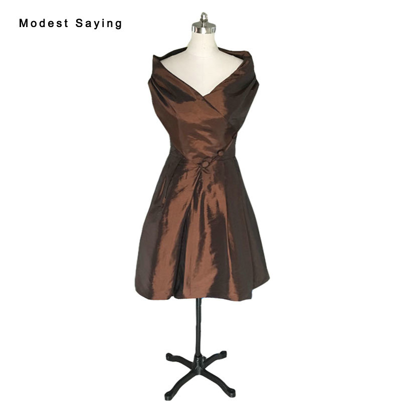 Vintage Brown Ball Gown Off Shoulder Taffeta Party Cocktail Dresses 2017 With Buttons Formal Women Mini Party Prom Gowns VC5