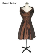 Vintage Brown Ball Gown Off Shoulder Taffeta Party Cocktail Dresses 2017 with Buttons Formal Women Mini