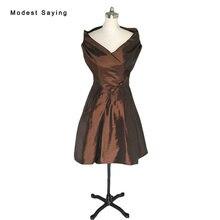 Vintage Brown Ball Gown Off Shoulder Taffeta Party font b Cocktail b font font b Dresses